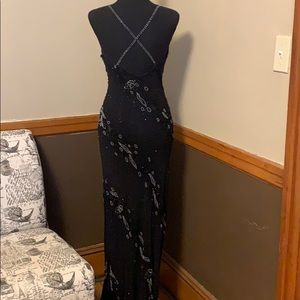 Cache Dresses - Cache SIZE 2 100% silk black and beaded long dress
